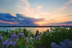 The sunset glow lake water Stock Image