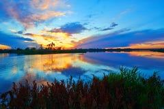 Sunset glow lakeside Stock Photography