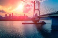 Sunset glow-Nanchang Bayi Bridge. Bayi Bridge is the first cable stayed bridge in Jiangxi Province, and the longest cable stayed bridge in Nanchang City, Jiangxi royalty free stock images