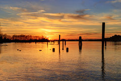 Sunset glow over river Royalty Free Stock Images