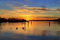 Sunset glow over river Royalty Free Stock Photography