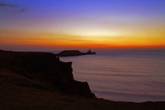 After Sunset glow Rhossili Bay and Worms head Stock Photo