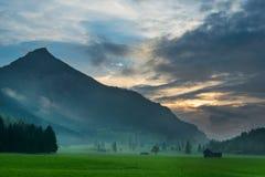 Sunset glow in tyrol mountain meadow Stock Image