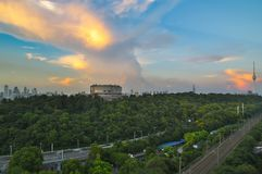 Sunset glow of Wuhan stock image