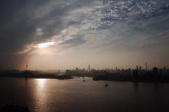 Sunset glow of yangzi river stock photos