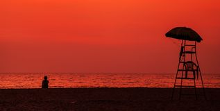 Sunset in Goa. Stunning Sunset at beach in Goa, India Royalty Free Stock Photography