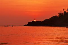 Sunset in Goa royalty free stock images