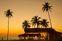 Sunset in Goa. View of a shack at a sunset in the tropical Goa, India Royalty Free Stock Photo