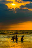Sunset at Goa Beach. With silhoutte background Royalty Free Stock Image
