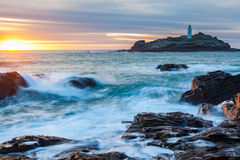Sunset at Godrevy Cornwall England Royalty Free Stock Images