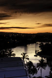 Sunset At The Gold Coast. One of the beautiful sunsets on a river at the Gold Coast City stock image