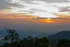 Sunset at mountain in Thailand stock photos