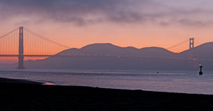 Sunset on the Golden Gate Bridge Stock Photos