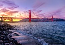 Sunset at Golden Gate Bridge, San Francisco, California Stock Photography