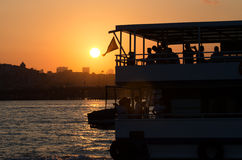 Sunset at Golden Horn, Istanbul Royalty Free Stock Images