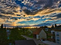 Sunset in the golden hour royalty free stock photography
