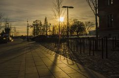 Sunset golden hour reflection shadow of iron architechture in an outdoor park. With trees around royalty free stock photo