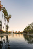 Sunset golden hour view of Los Angeles downtown. At Echo Park Lake Royalty Free Stock Photo