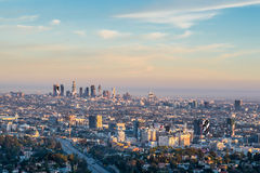 Sunset golden hour view of Los Angeles downtown