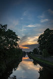 Sunset. Golden sunset over the Calder and Hebble navigation stock photo
