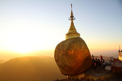 Sunset at Golden Rock, Myanmar. Stock Image