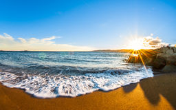 Sunset with golden sand, Var, France Royalty Free Stock Image
