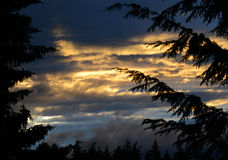 Sunset golden sun rays piercing through dark stormy clouds Royalty Free Stock Image
