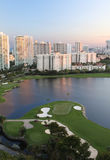 Sunset on the Golf Course in Miami. Sunset view overlooking Miami golf course, condos, streets, and ocean royalty free stock photos