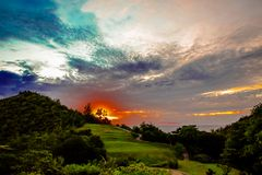 Sunset on the golf court Royalty Free Stock Photography
