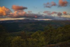 Sunset in the Gorbea Natural Park. N Bizkaia royalty free stock photos