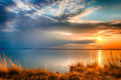 Sunset at the Gorky reservoir lake Stock Image