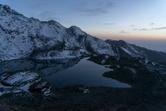Gosaikunda lakes in Nepal trekking tourism. Sunset in Gosaikunda trek of Nepal Himalaya Stock Photography