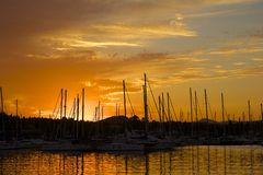 Sunset in Gouvia harbour, Corfu, Greece Stock Photos
