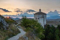 Sunset at Gran Sasso - Rocca Calascio AQ royalty free stock photography