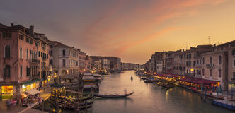 Sunset at Grand Canal, Venice. View from Ponte di Rialto royalty free stock images