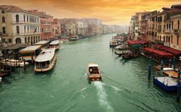 Sunset and the Grand Canal Royalty Free Stock Photos