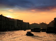 Sunset and the Grand Canal Stock Images