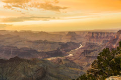 Sunset at the Grand Canyon seen from Desert View Point, South Ri Stock Photography