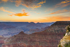 Sunset at the Grand Canyon seen from Desert View Point, South Ri Royalty Free Stock Photo