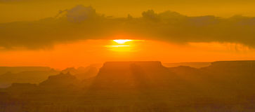 Sunset at Grand Canyon seen from Desert view point, South rim Royalty Free Stock Photos