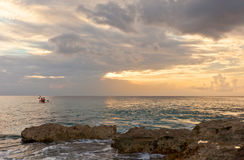 Sunset on Grand Cayman Island, Cayman Islands Royalty Free Stock Photography