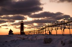 Sunset at Grand Haven Lighthouse Royalty Free Stock Photo