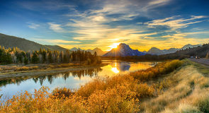 Sunset Grand Teton National Park. Sunset the lake in the Grand Teton National Park, Wyoming, USA. Oxbow Bend stock image