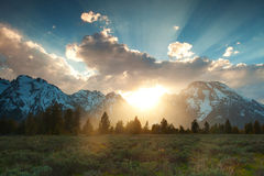 Sunset at the Grand Tetons stock photography