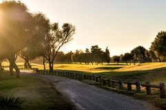 Sunset. Great golf course in Mallorca Royalty Free Stock Photos