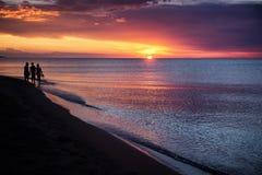 Sunset on the great lake Balkhash Stock Photography