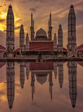 Sunset. Great mosque central java indonesia Royalty Free Stock Photos