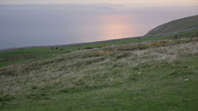 Sunset from Great Orme's Head coastline stock video footage