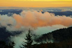 Sunset in Great Smoky Mountains National Park. Clouds at sunset in Great Smoky Mountains National Park Royalty Free Stock Photo
