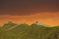Sunset in the Great Wall, China royalty free stock photo